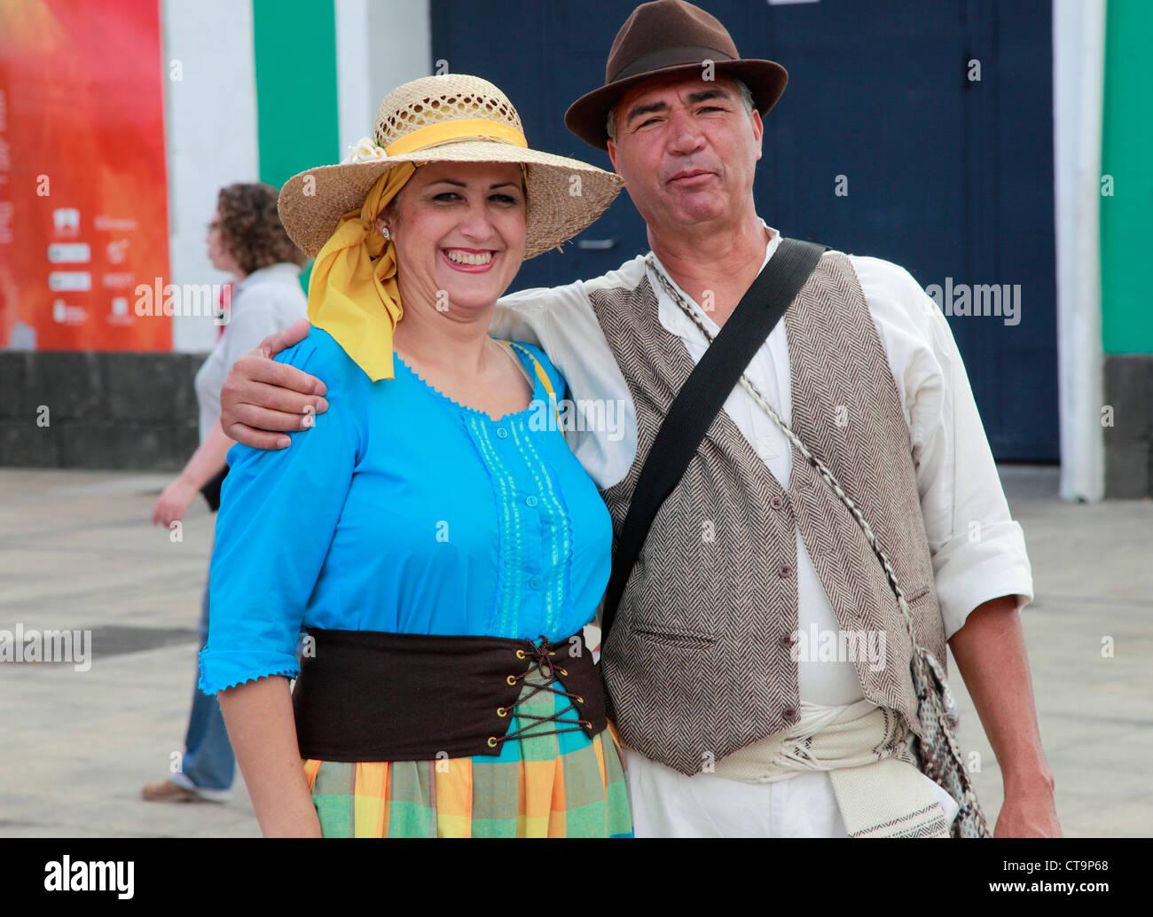 Spain, Canary Islands, Gran Canaria, Las Palmas, Dia de las Canarias, festival, people, traditional dress, - Stock Image