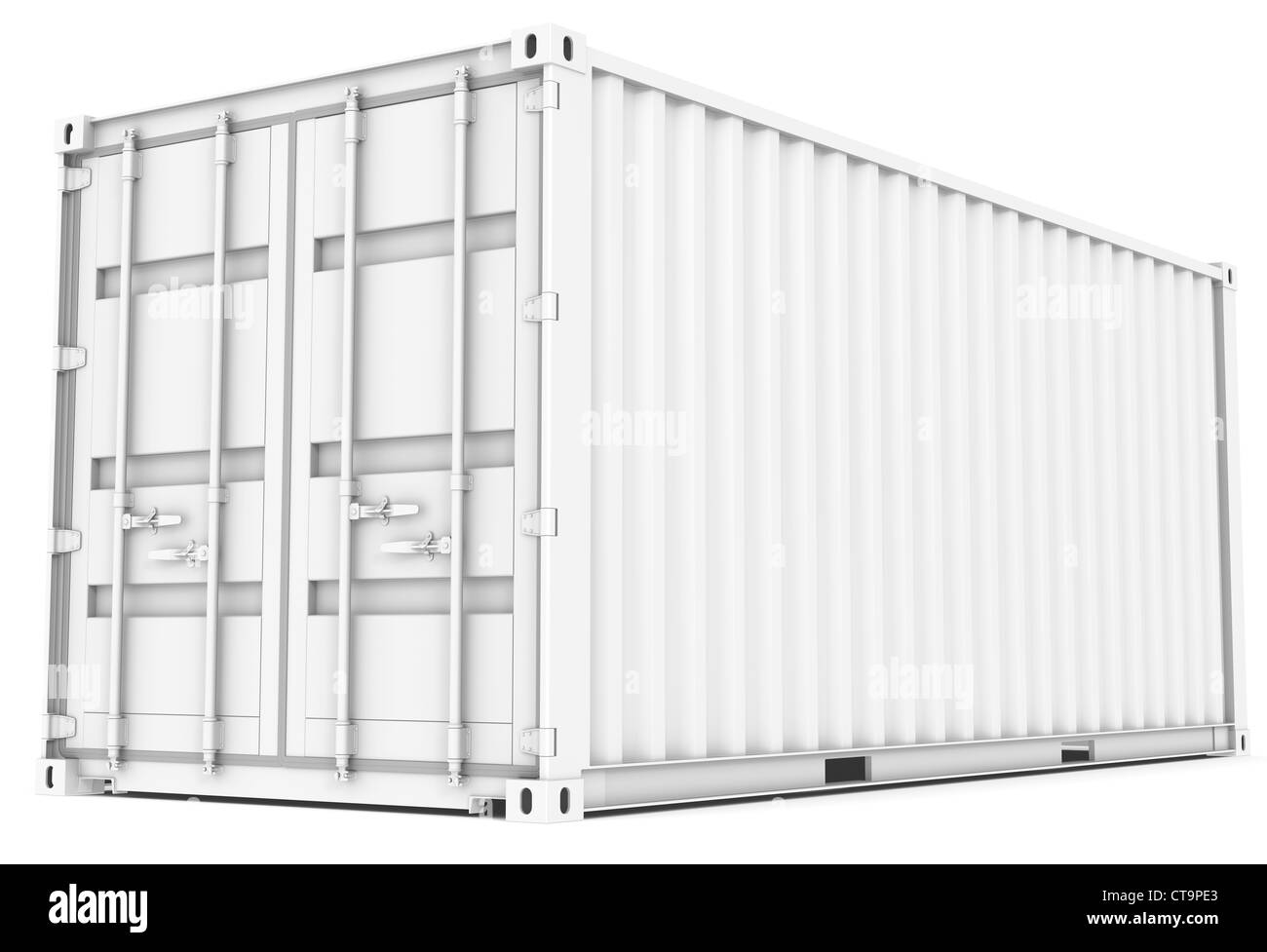 All white Cargo Container. Perspective view. - Stock Image