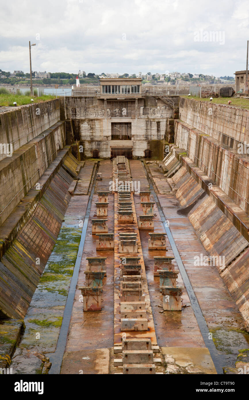 Dry Dock, St Malo, France - Stock Image