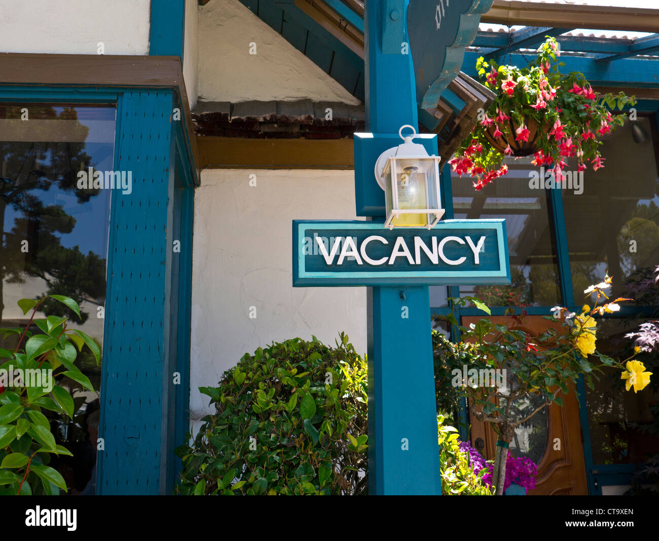 Vacancy sign lit at renowned boutique hotel Normandy Inn Carmel by the Sea Ocean Drive Carmel California (CA) - Stock Image