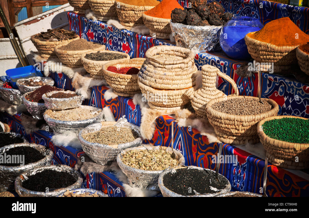 Egypt. Sharm El Sheikh. Local market stall. Close-up of spices and truffles for sale. - Stock Image