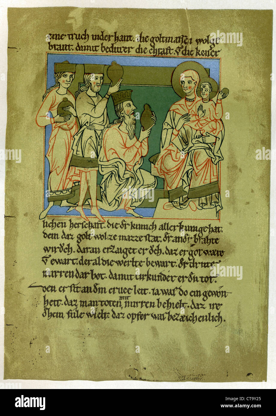 Mary, holding her son, is visited by the Magi, the 'three wise men.' It dates to the 12th century A.D. - Stock Image