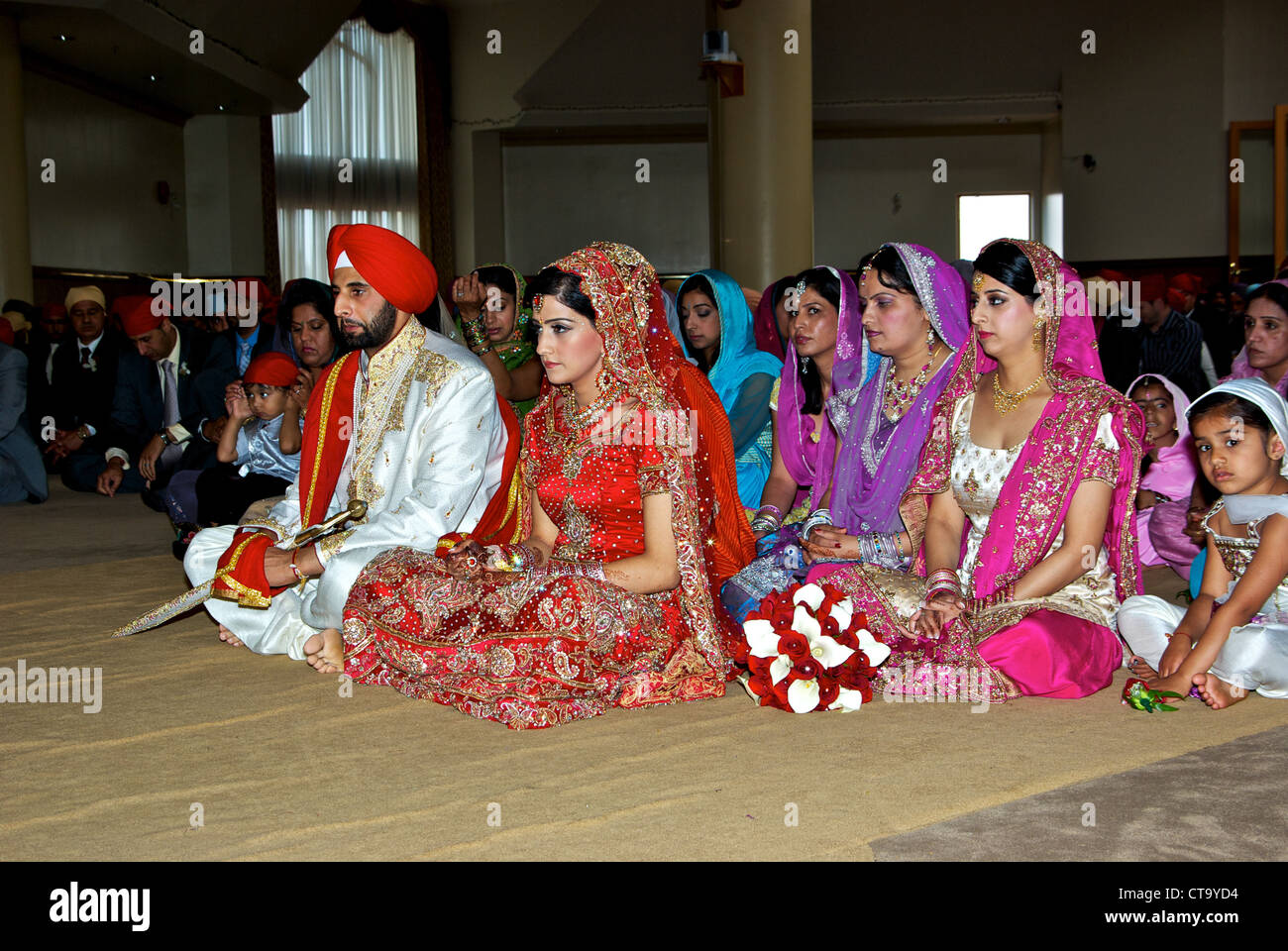 Traditional East Indian Wedding Groom Bright Red Turban