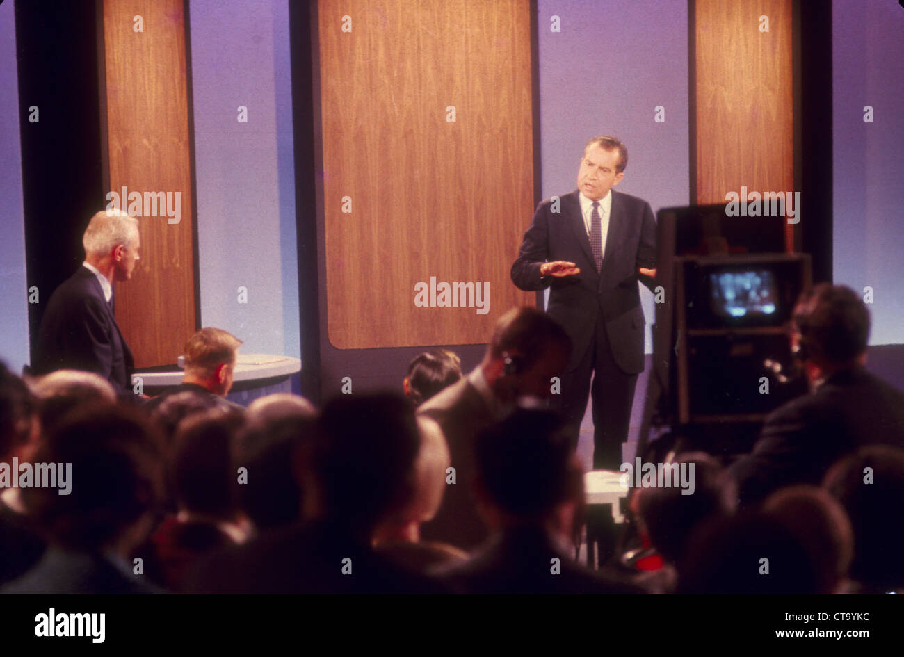 Richard Nixon being interviewed for television - Stock Image