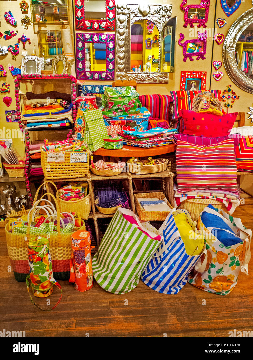 Colorful Mexican folk art is on display at a specialty gift store in midtown Manhattan, New York City. - Stock Image