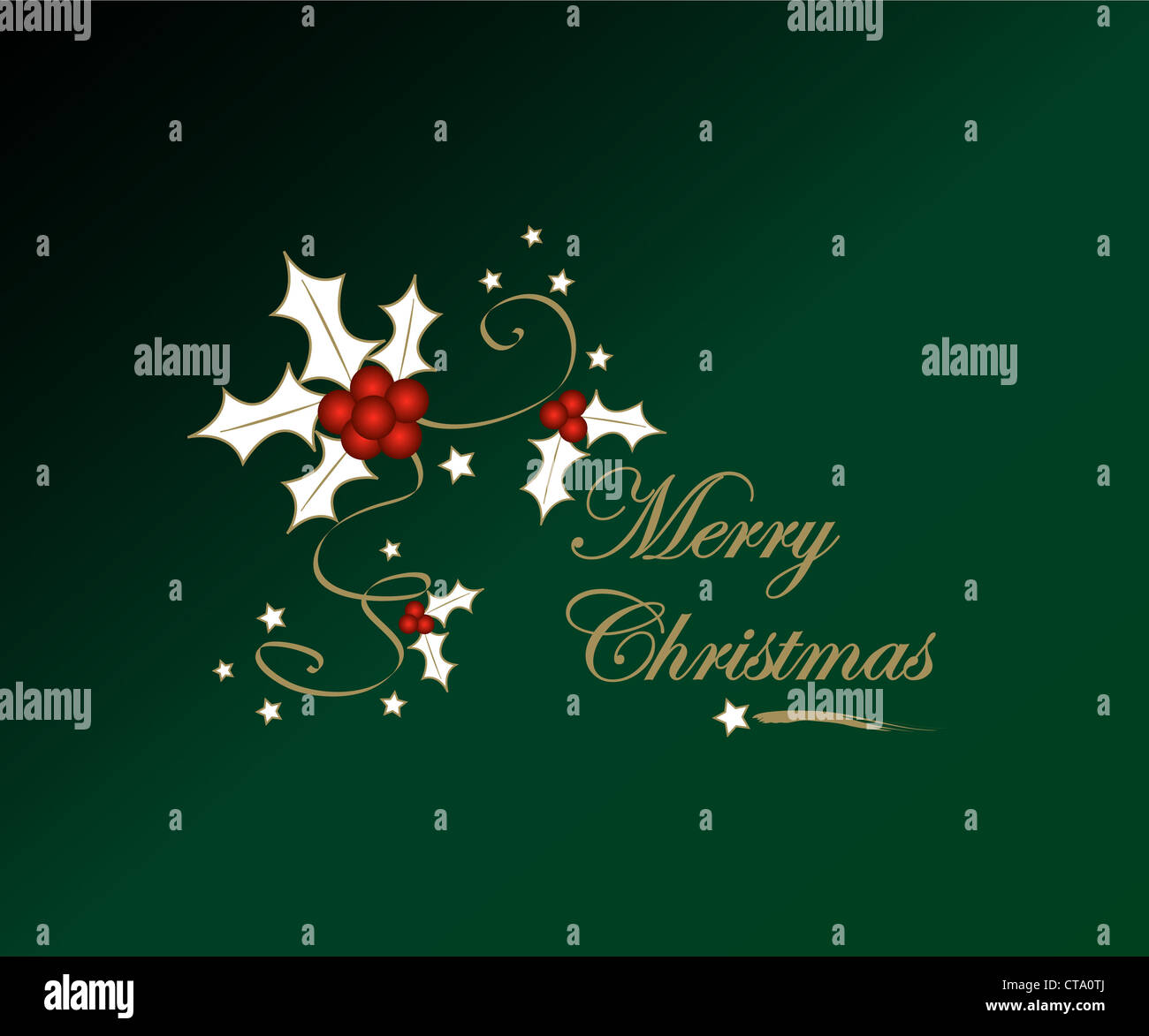 Christmas holly and red stars with greetings Stock Photo