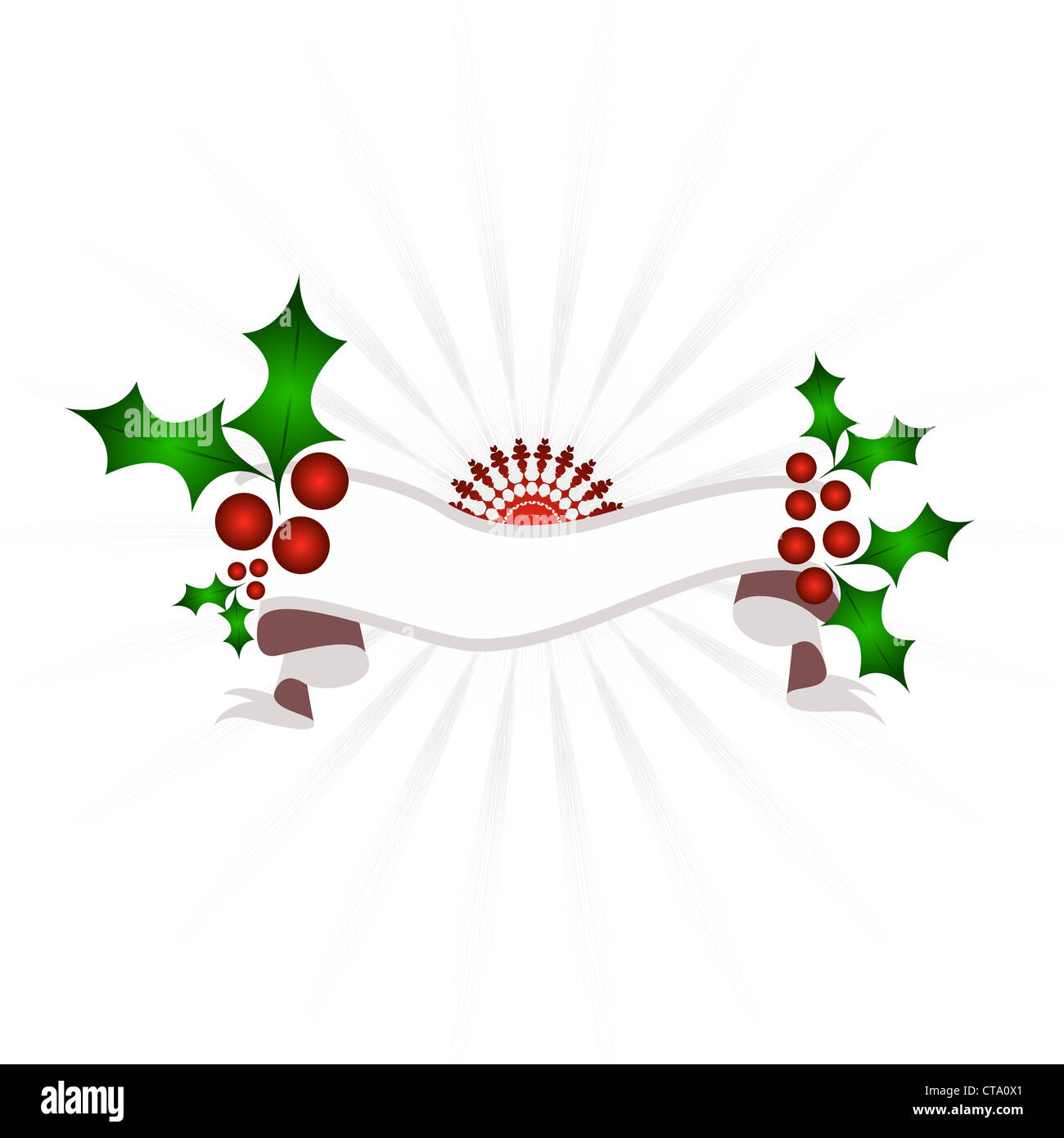 Christmas holly and red star with banner Stock Photo
