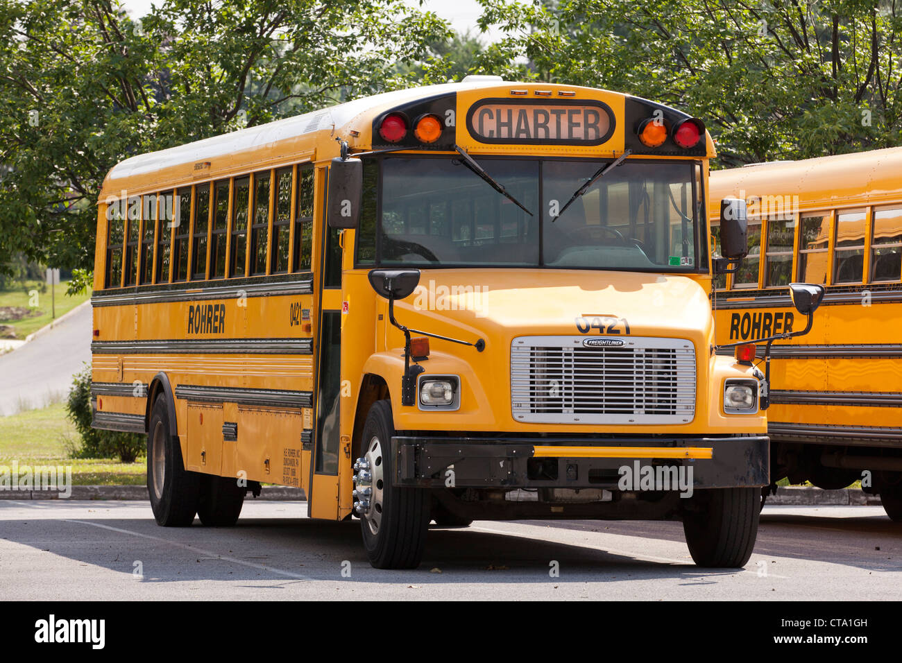 Parked school bus - Stock Image