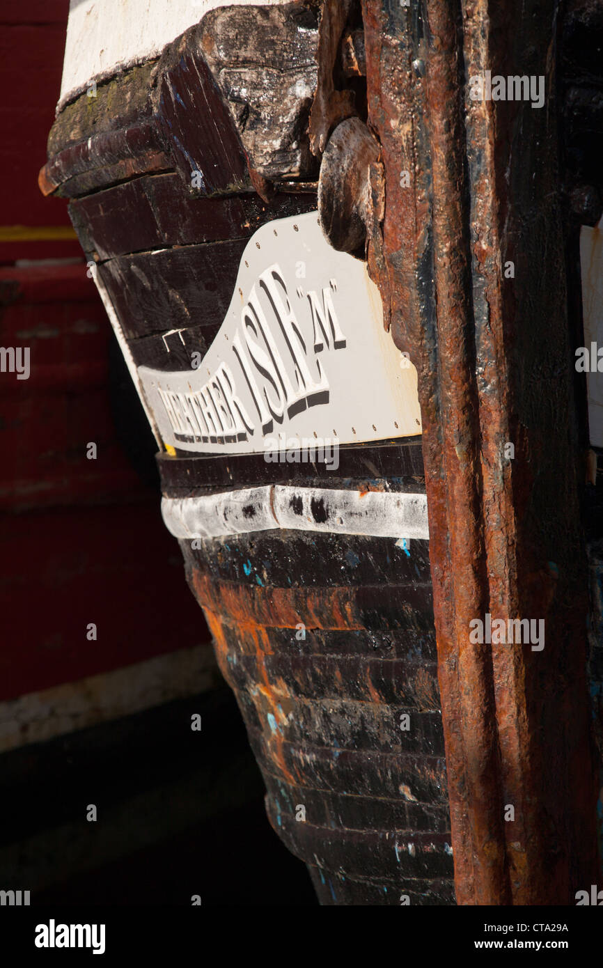 Town of Stornoway, Lewis. Picturesque close up view of the fishing boat name (Heather Isle) in Stornoway Harbour. - Stock Image