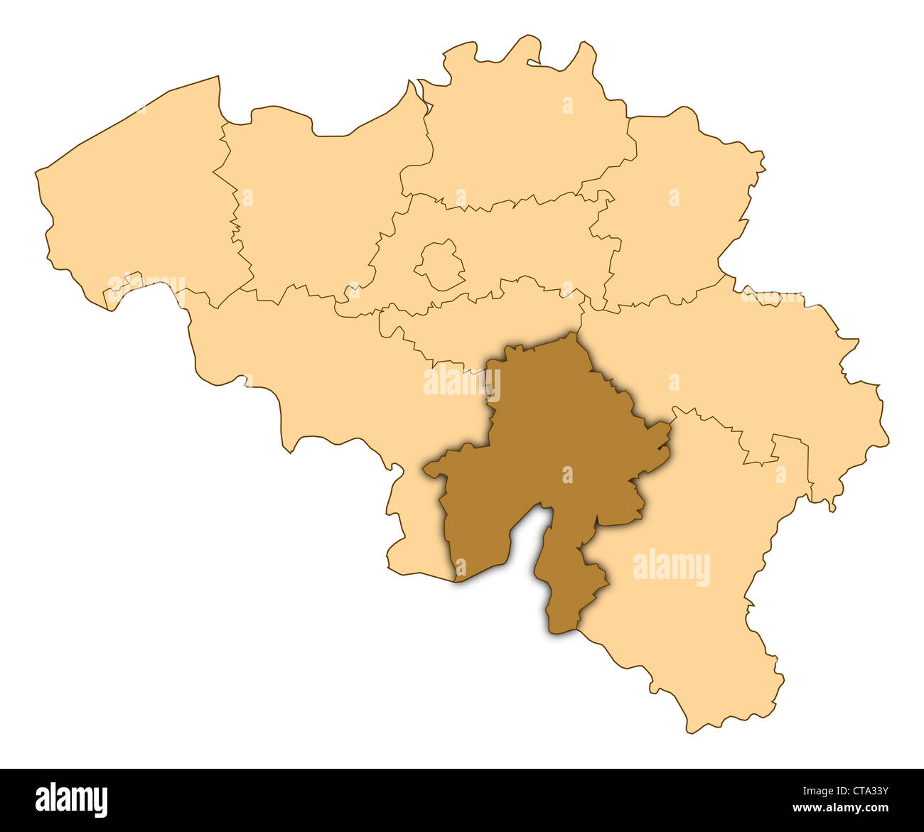 Map of belgium where namur is highlighted stock photo 49394463 alamy map of belgium where namur is highlighted gumiabroncs Images