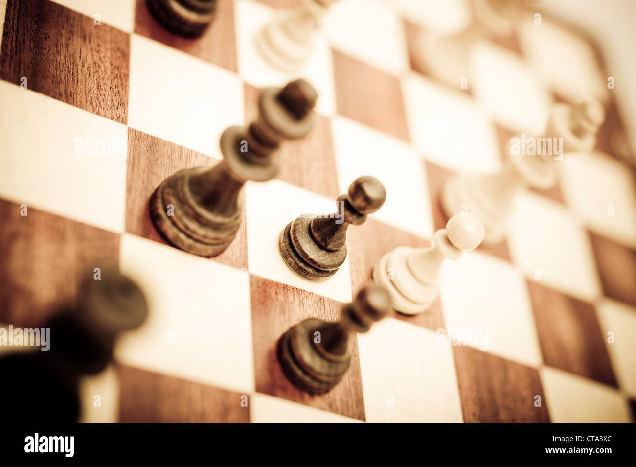 chess game focus on kings and pawns - Stock Image