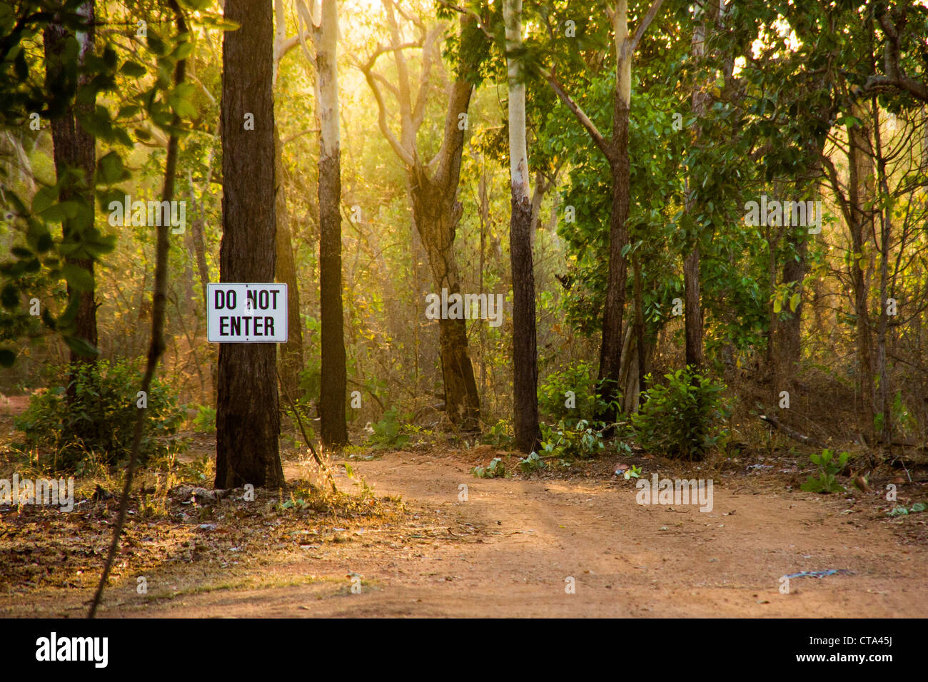 Do not enter sign along a pathway in Kakadu National Park Australia - Stock Image