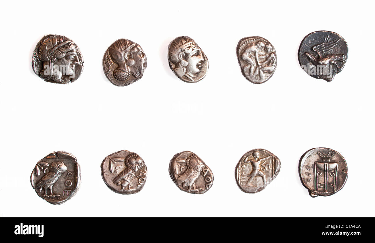 Ancient Greek coins 3rd - 4th century BCE. - Stock Image