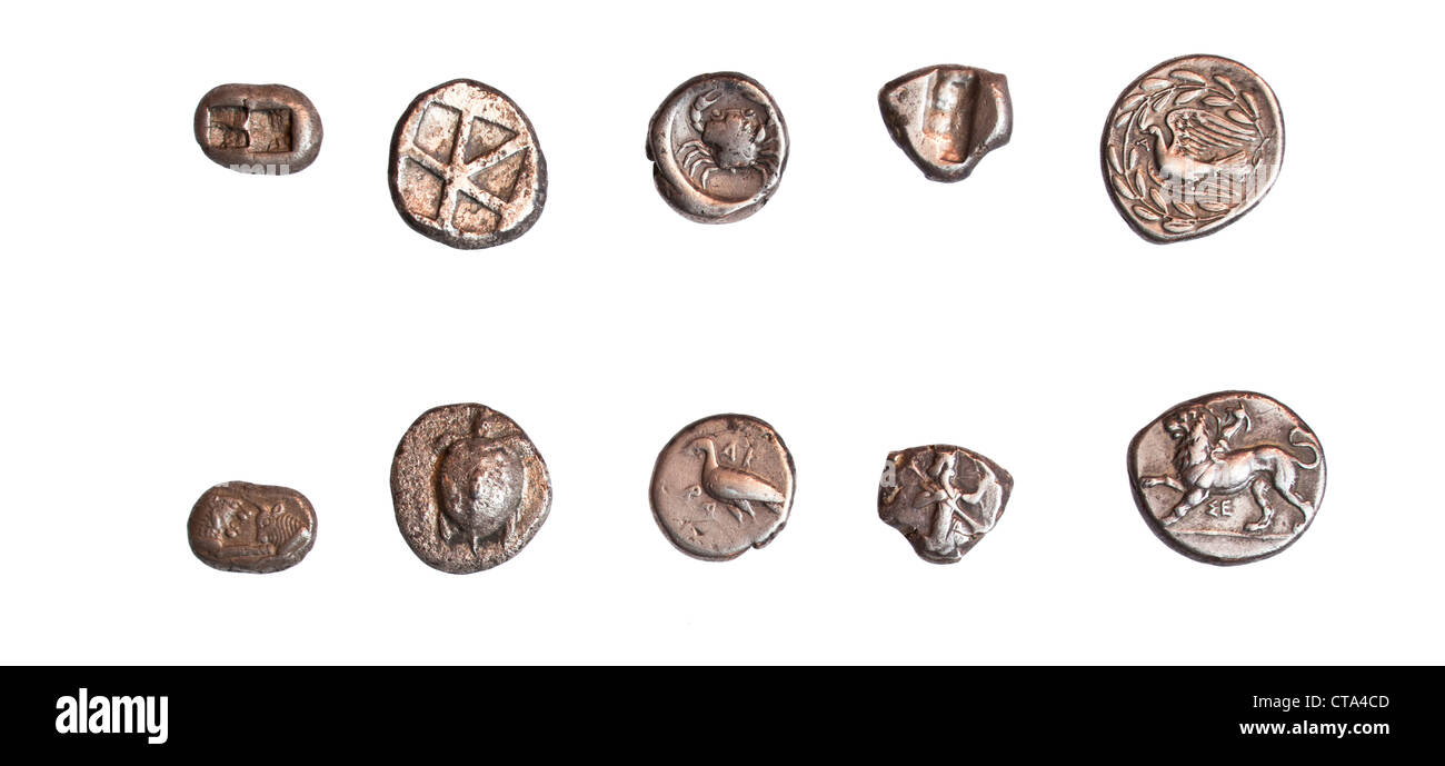 Ancient Greek coins 3rd - 5th century BCE. - Stock Image