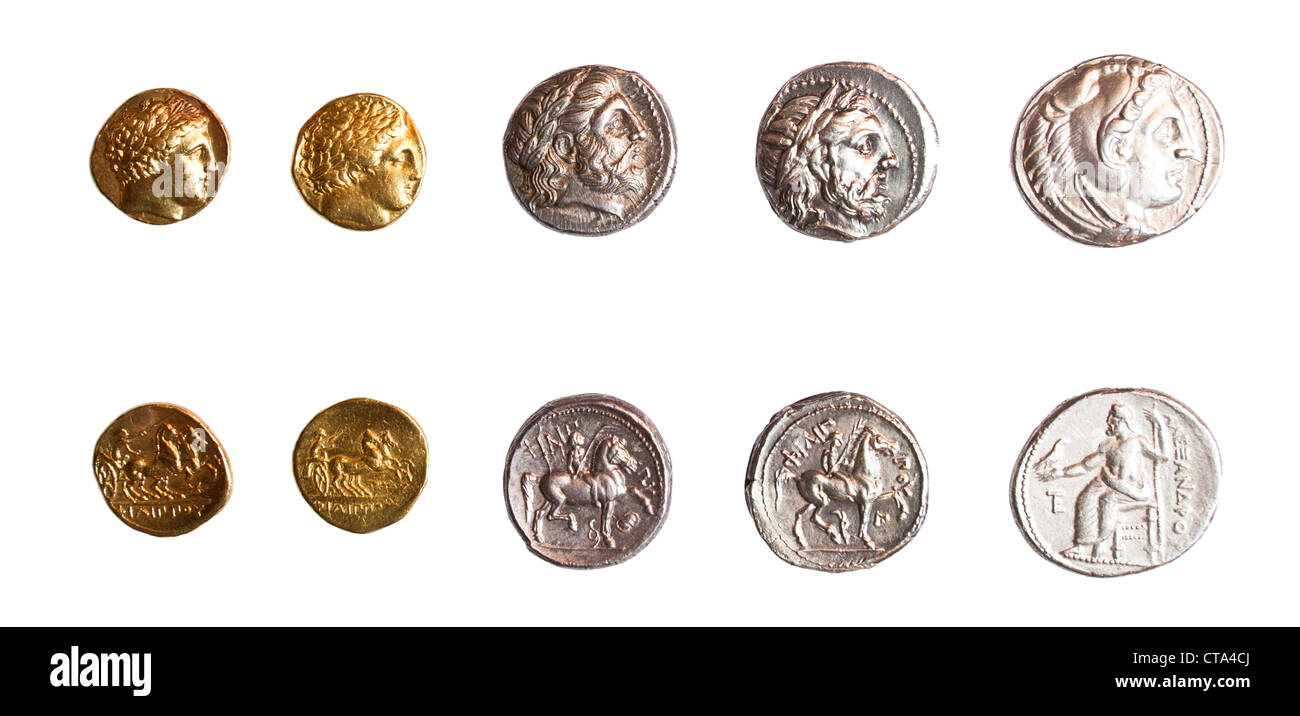 Ancient Greek coins 3rd century BCE. - Stock Image