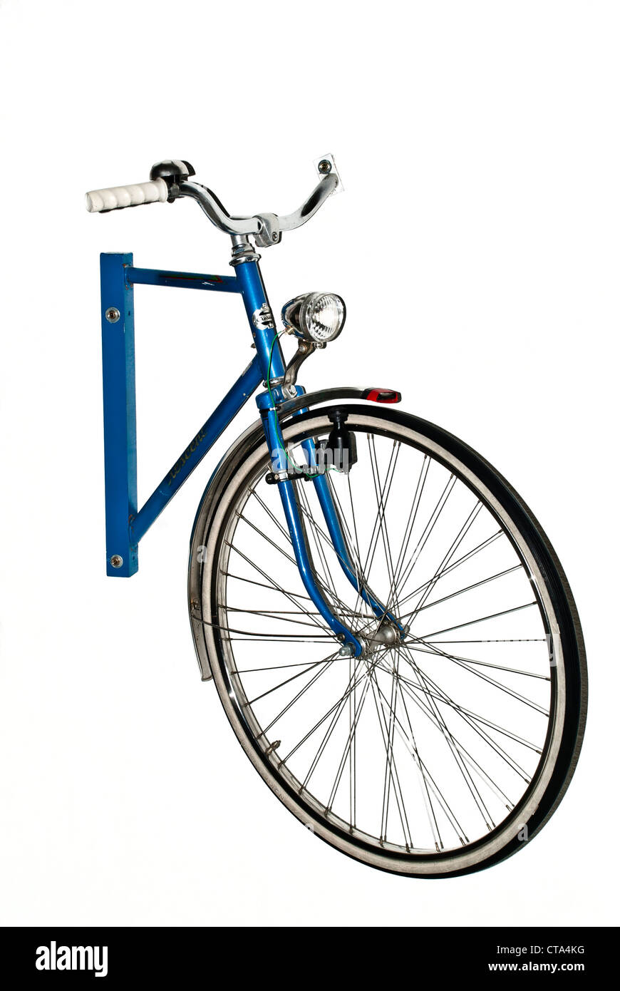 Blue half bicycle on the wall - Stock Image
