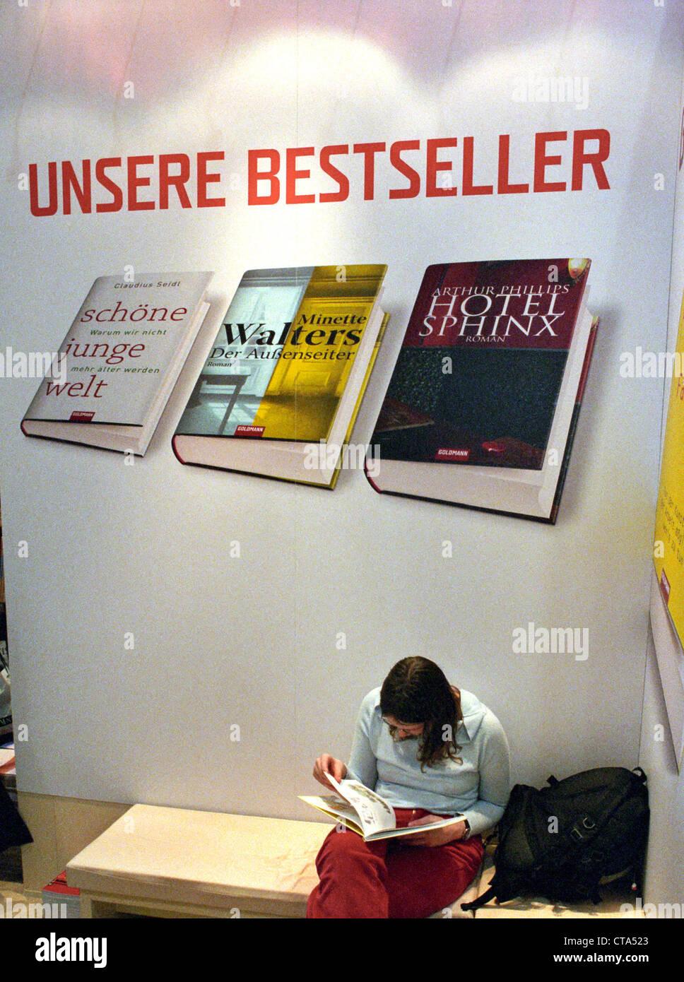 Leipzig Book Fair, the best-selling advertising Goldmann Verlag - Stock Image