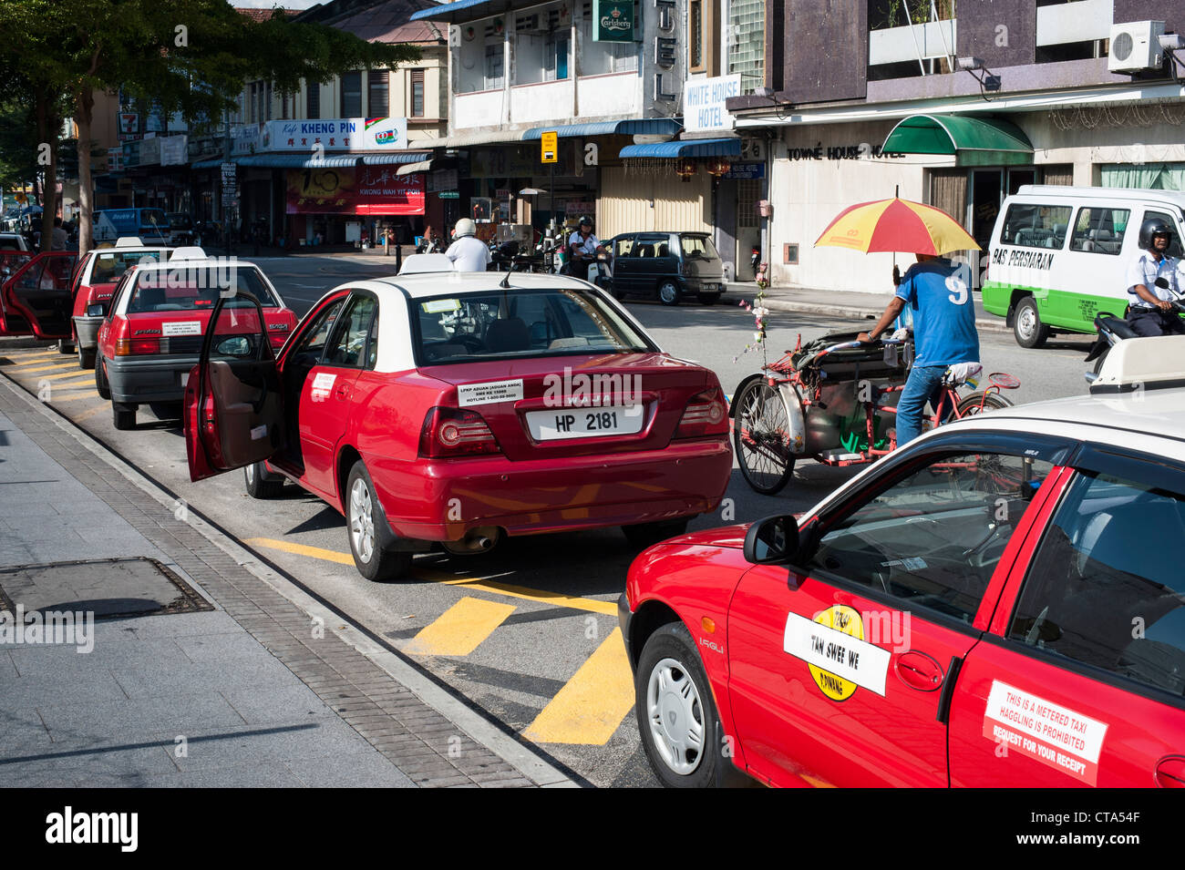 Malaysia, Penang, Georgetown Metered taxis in the streets of Penang. No Haggling. - Stock Image