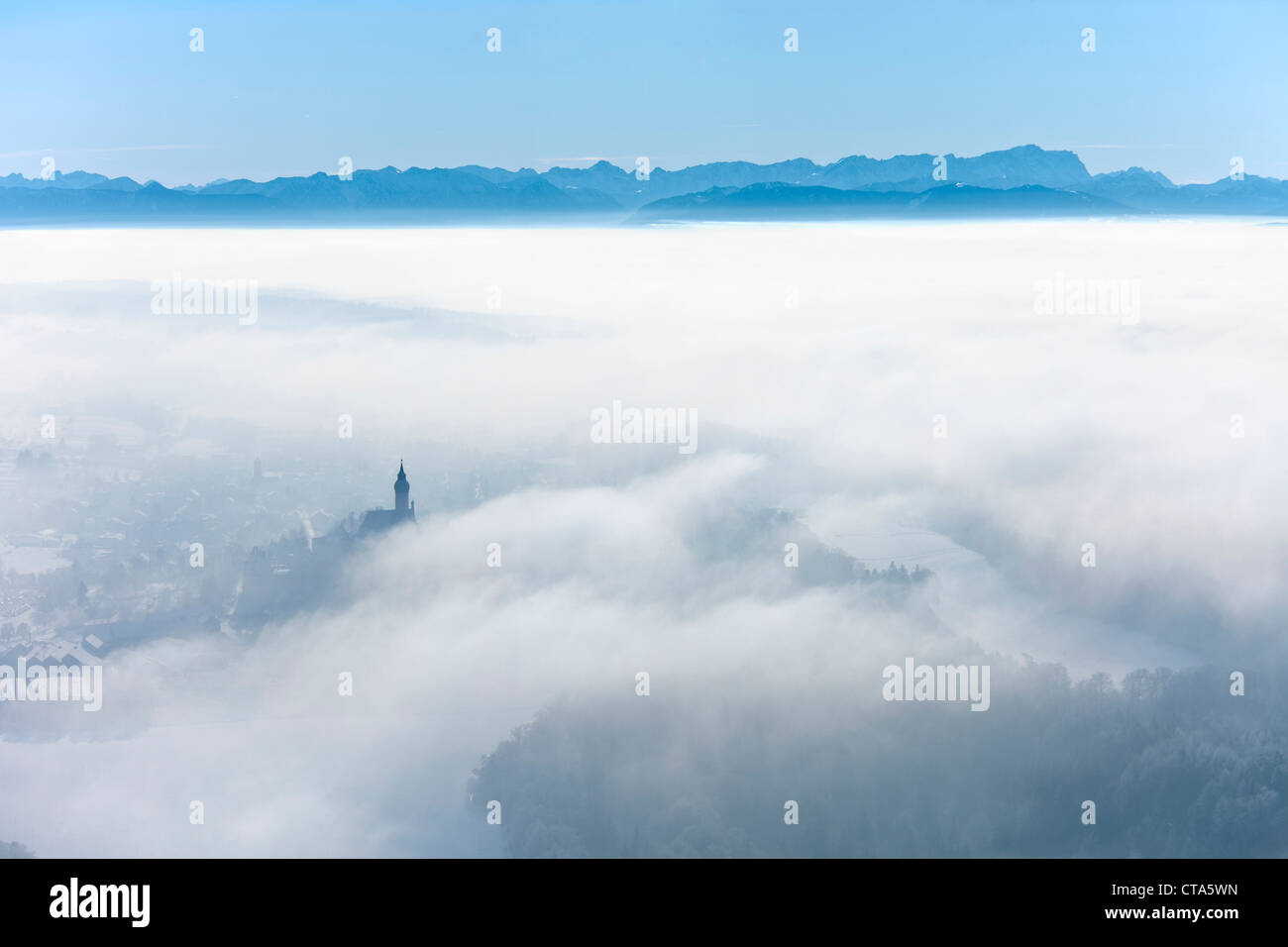 Aerial view of Andechs monastery under cloud cover, Wetterstein mountains in the background, District of Starnberg, - Stock Image