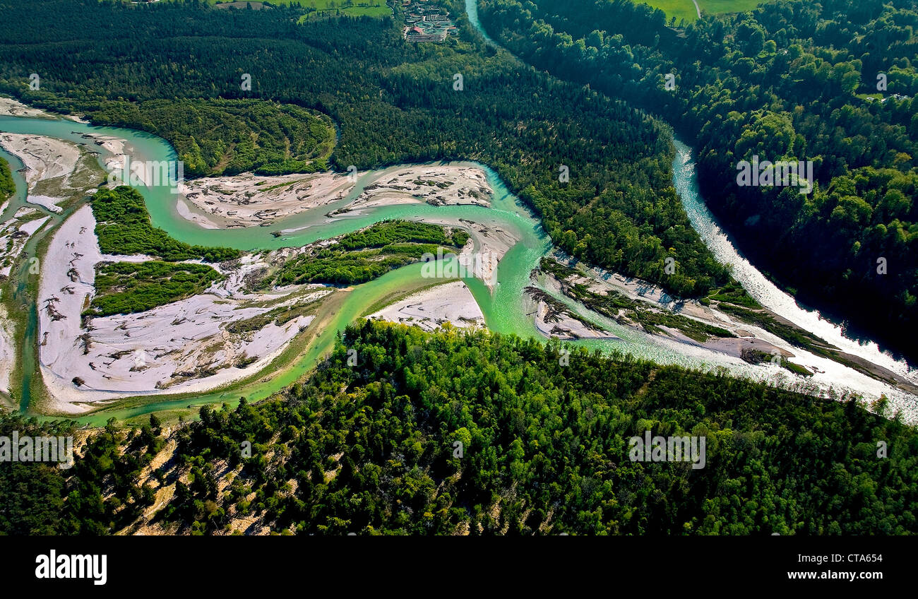 High angle view of nature reserve Pupplinger Au, Wolfratshausen, Upper Bavaria, Germany, Europe - Stock Image