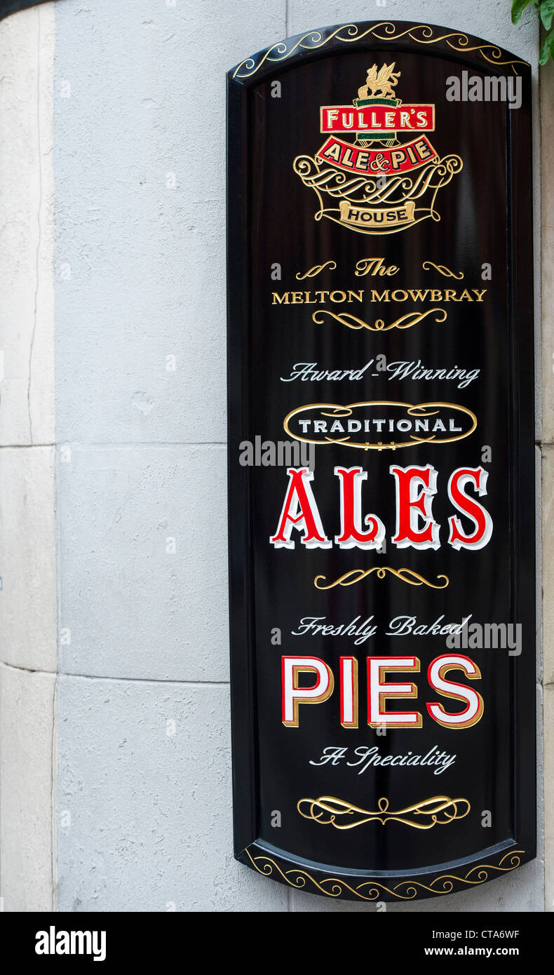 Fullers ale and pie pub sign. London, England - Stock Image