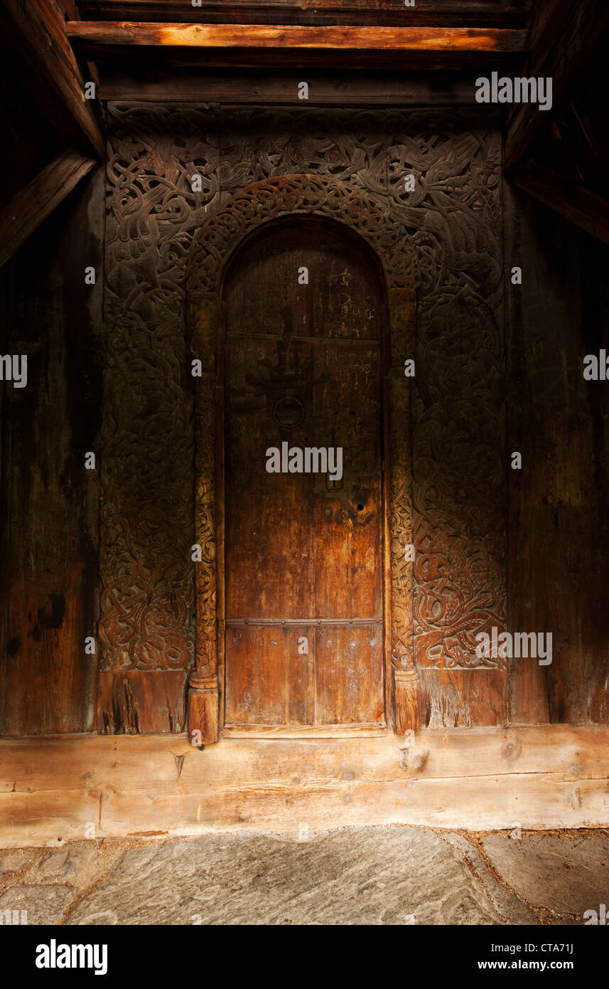 Borgund stave church with carvings around the door, Norwegian wood