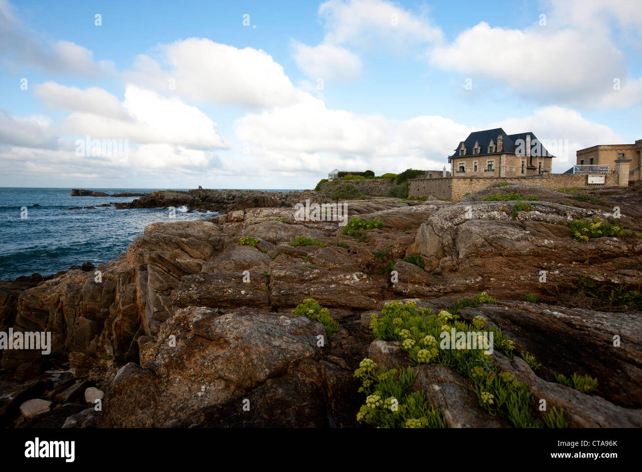 Hotel at Atlantic coast, Le Croisic, Loire-Atlantique, Pays de la Loire, France Stock Photo