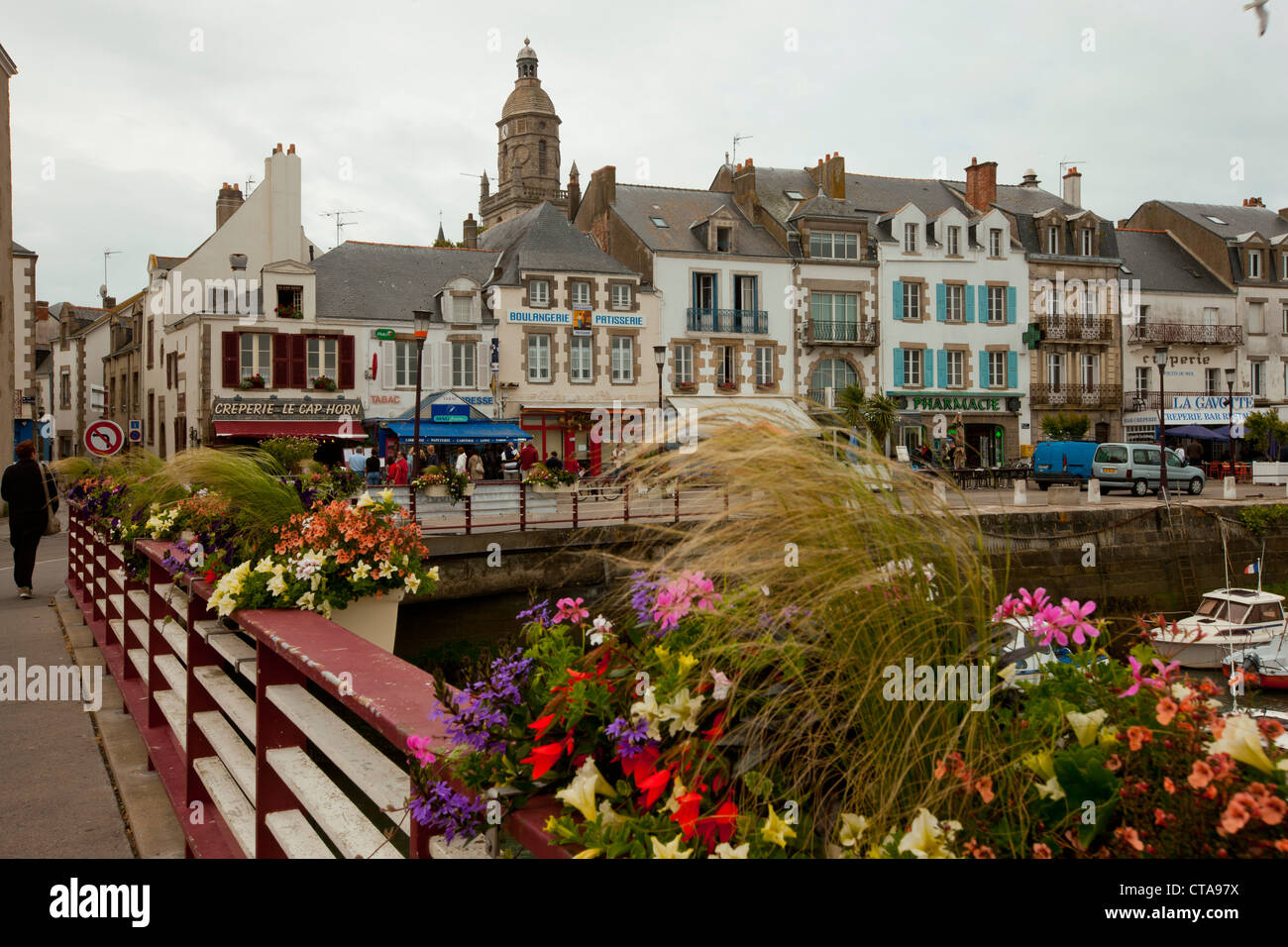 House facades, Le Croisic, Loire-Atlantique, Pays de la Loire, France Stock Photo