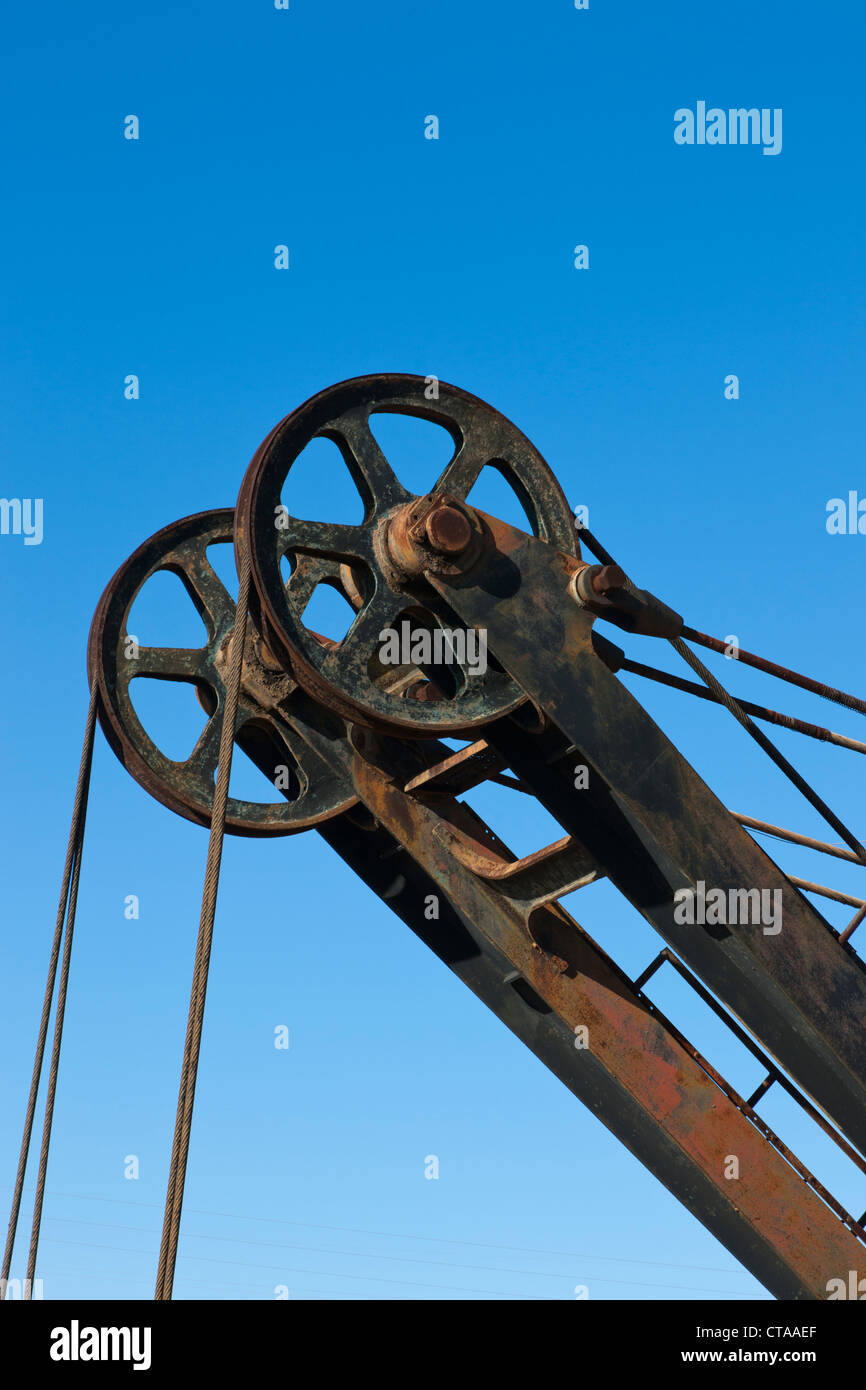 Detail of pulley system of discarded mechanical digger at Minas de Rio Tinto, Huelva Province, Andalusia, southern Stock Photo