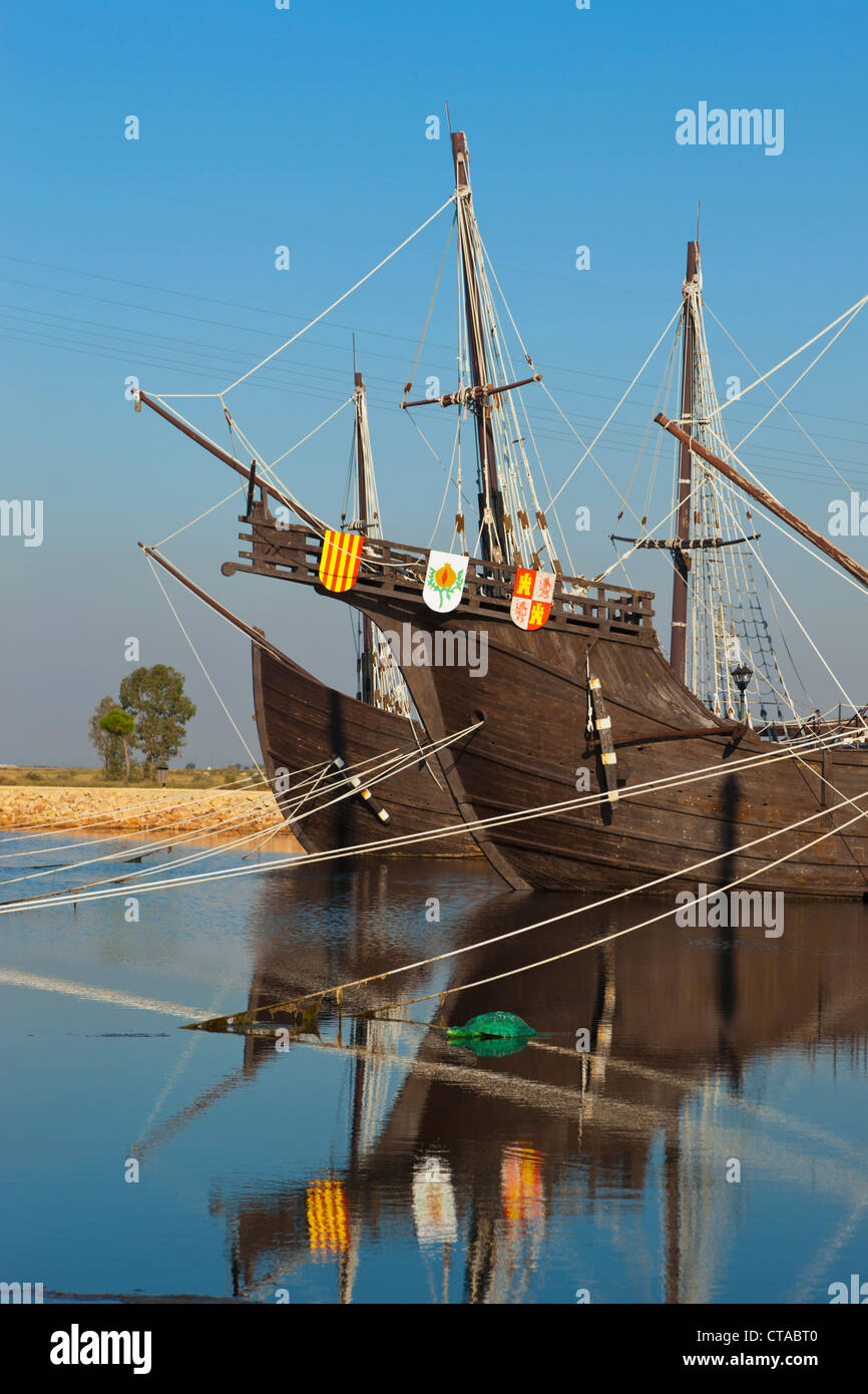 Replicas of ships Columbus sailed to the Americas in at the Wharf of the Caravels, Palos de la Frontera, Spain Stock Photo