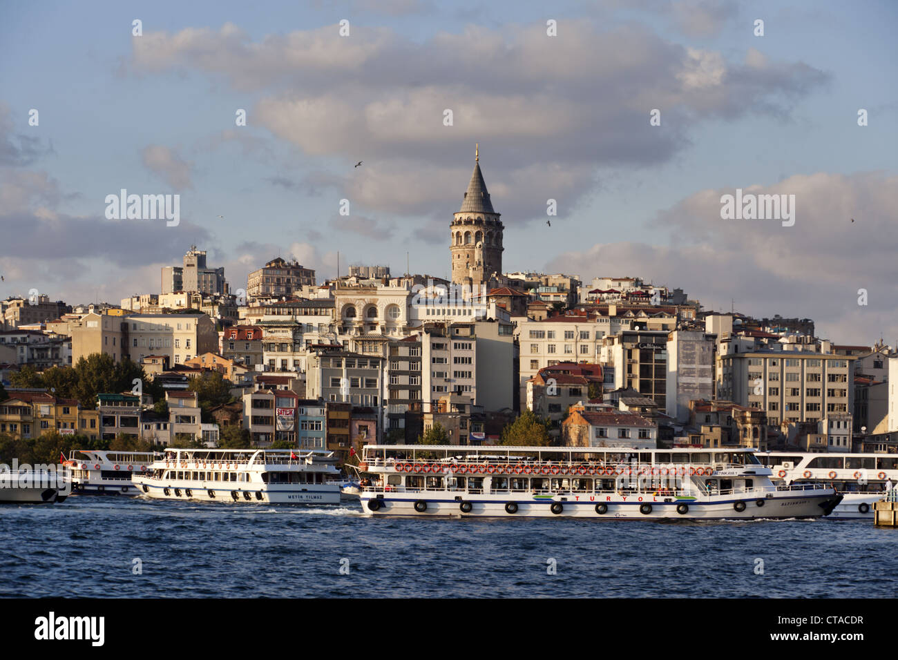 View over Golden Horn onto Galata tower at Beyoglu, Istanbul, Turkey, Europe - Stock Image