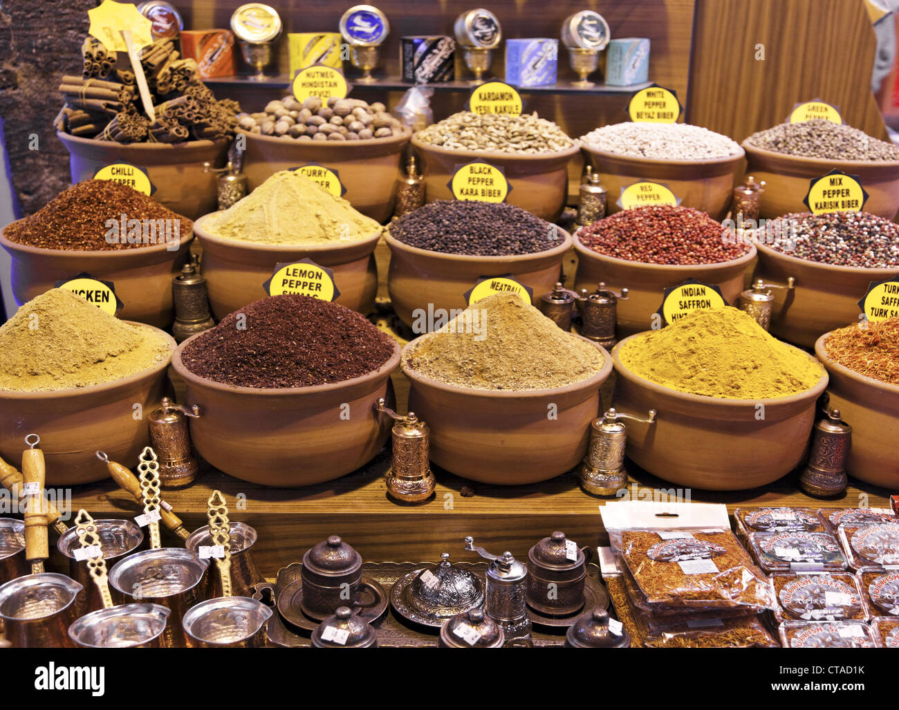 Spices at Egyptian Bazaar, Misir Carsisi, Istanbul, Turkey, Europe - Stock Image