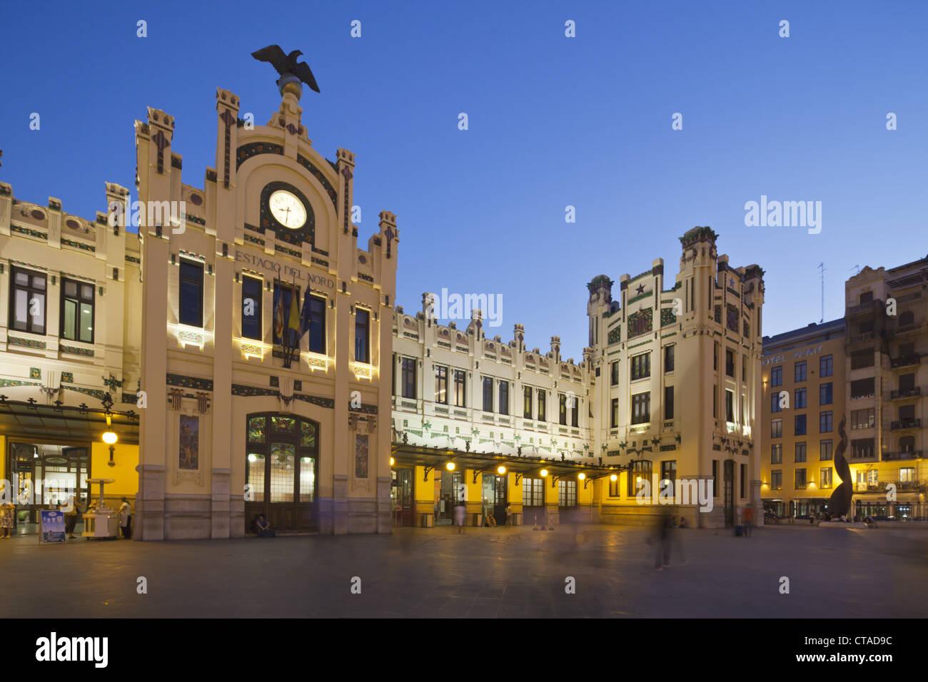 Railway Station Estacion del Nord in the evening, Valencia, Spain, Europe - Stock Image