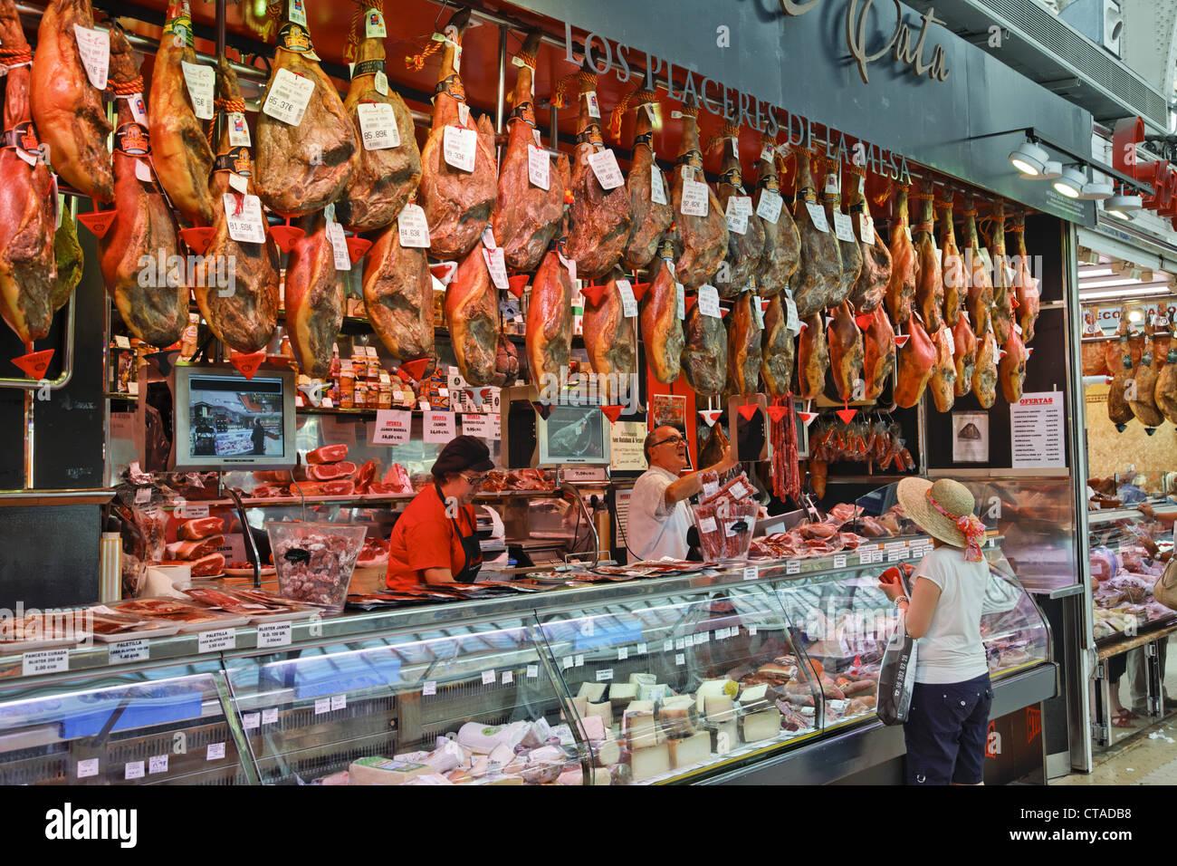 Ham at central market hall Mercado Central, Valencia, Spain, Europe - Stock Image