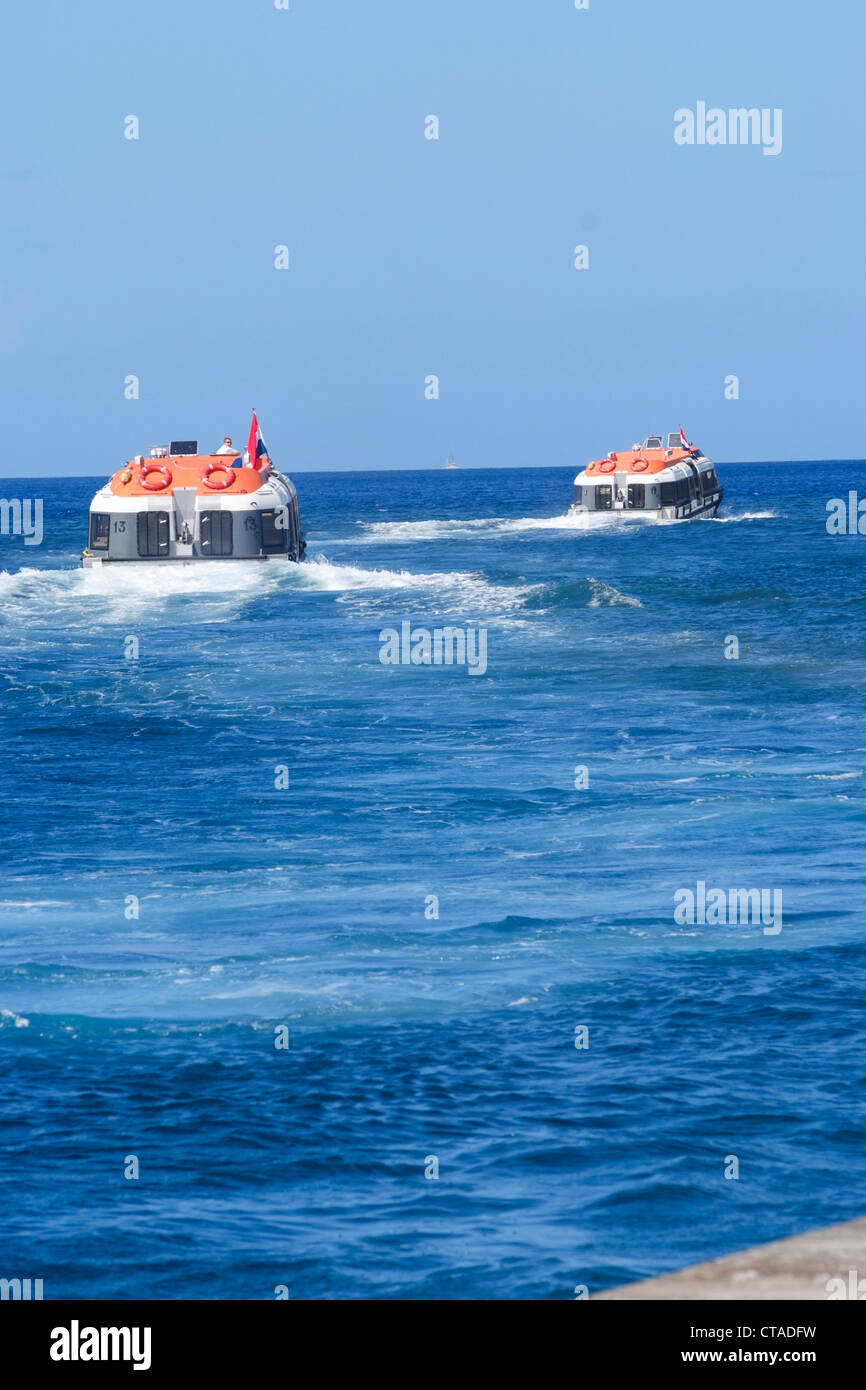 Abandon Ship Drill. Lifeboat. This vessel, for use in an emergency if the crew and passengers have to abandon ship - Stock Image