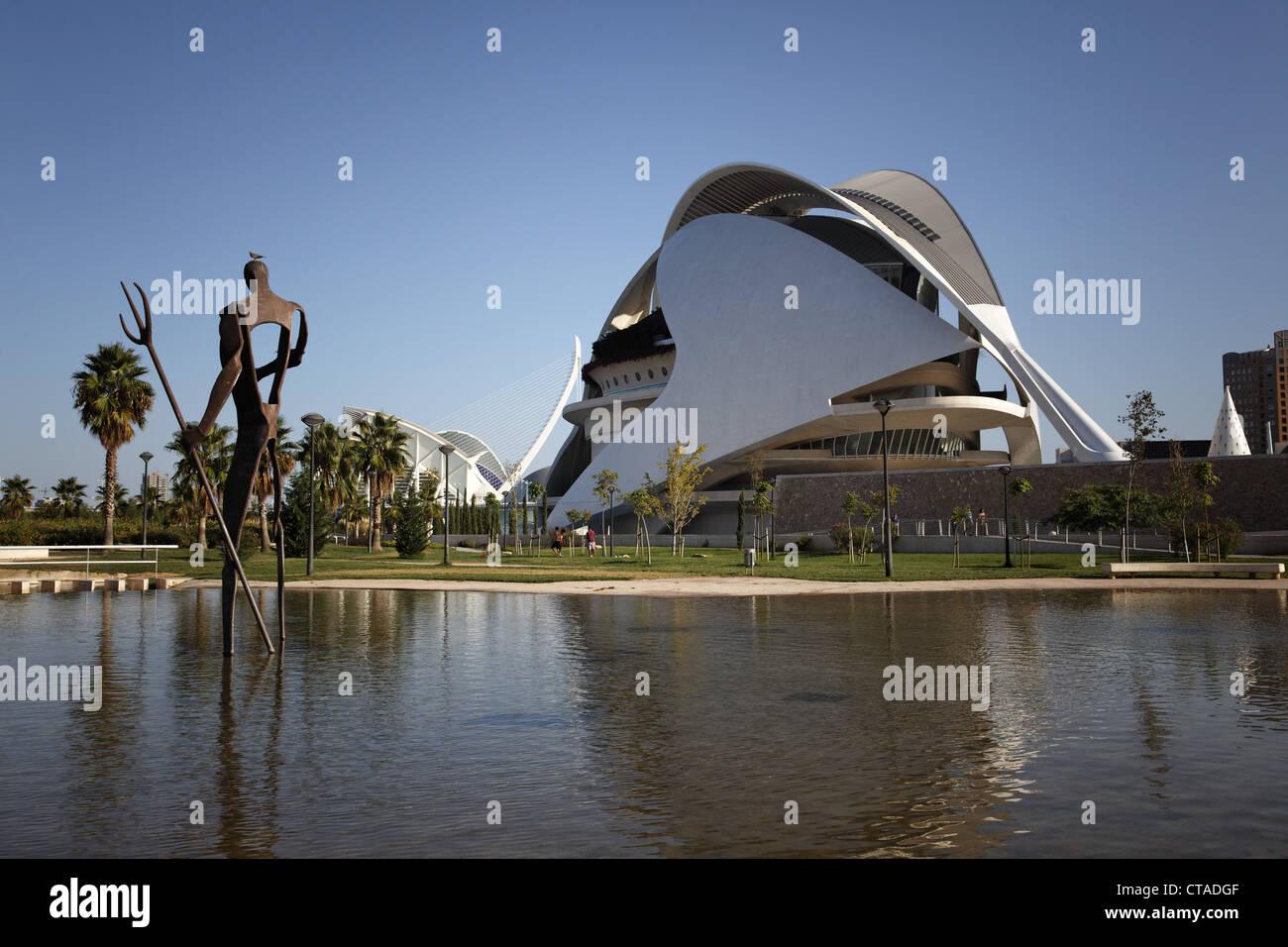 The opera Palau de les Arts Reina Sofia in the sunlight, Valencia, Spain, Europe - Stock Image