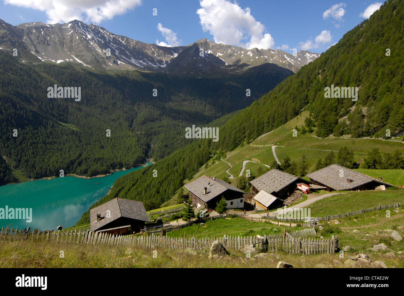 Farmhouses, mountain lake in the valley, Vernagt reservoir, Schnals Valley, Vinschgau, South Tyrol, Trentino-Alto - Stock Image
