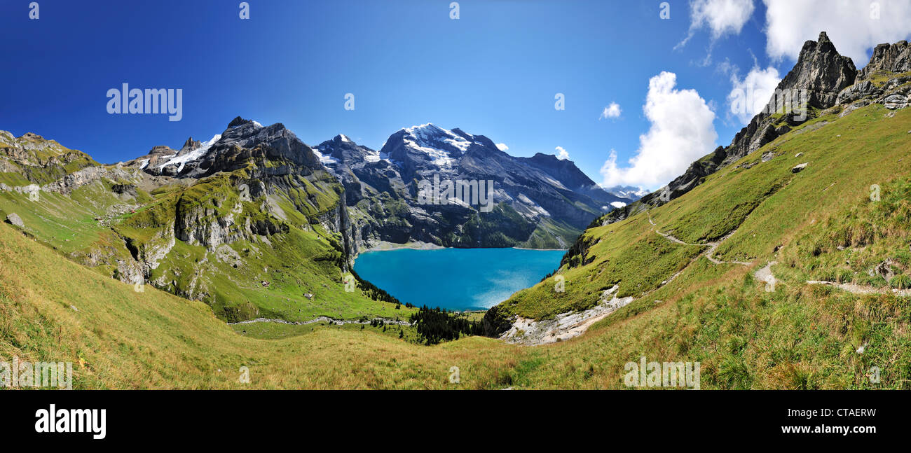 Mountain scenery with Oeschinen Lake, Bluemlisalp, UNESCO World Heritage Site Jungfrau-Aletsch protected area, Bernese - Stock Image