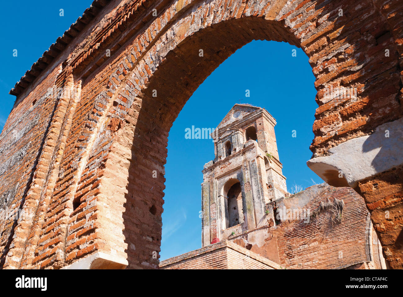 Niebla, Huelva Province, Andalusia, southern Spain. Ruins of the Church of Saint Martin. Iglesia de San Martin. - Stock Image