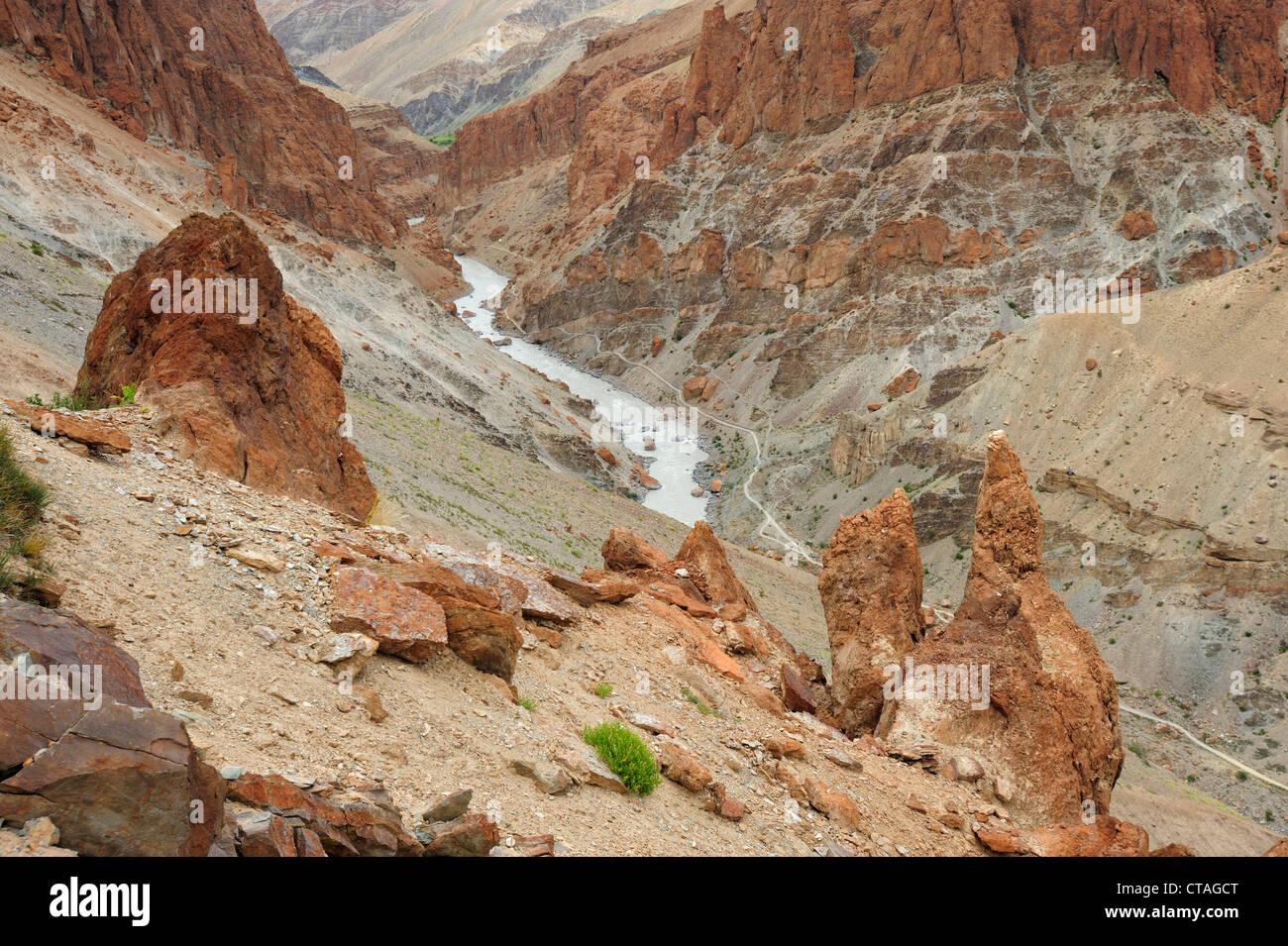 Gorge, between Padum and Phuktal, Zanskar Range Traverse, Zanskar Range, Zanskar, Ladakh, India - Stock Image