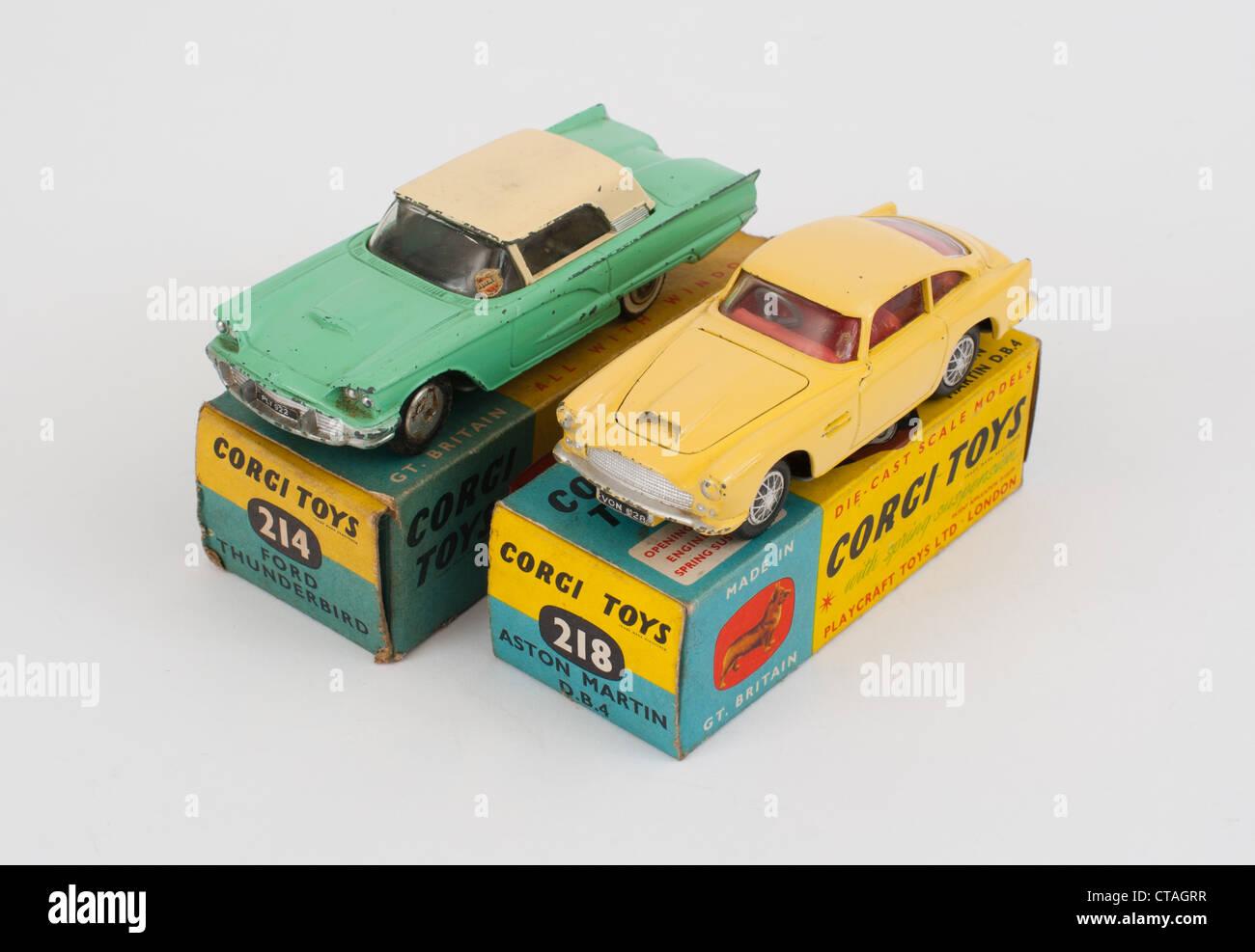 Corgi Aston Martin DB5 and Ford Thunderbird die-cast model toys - Stock Image