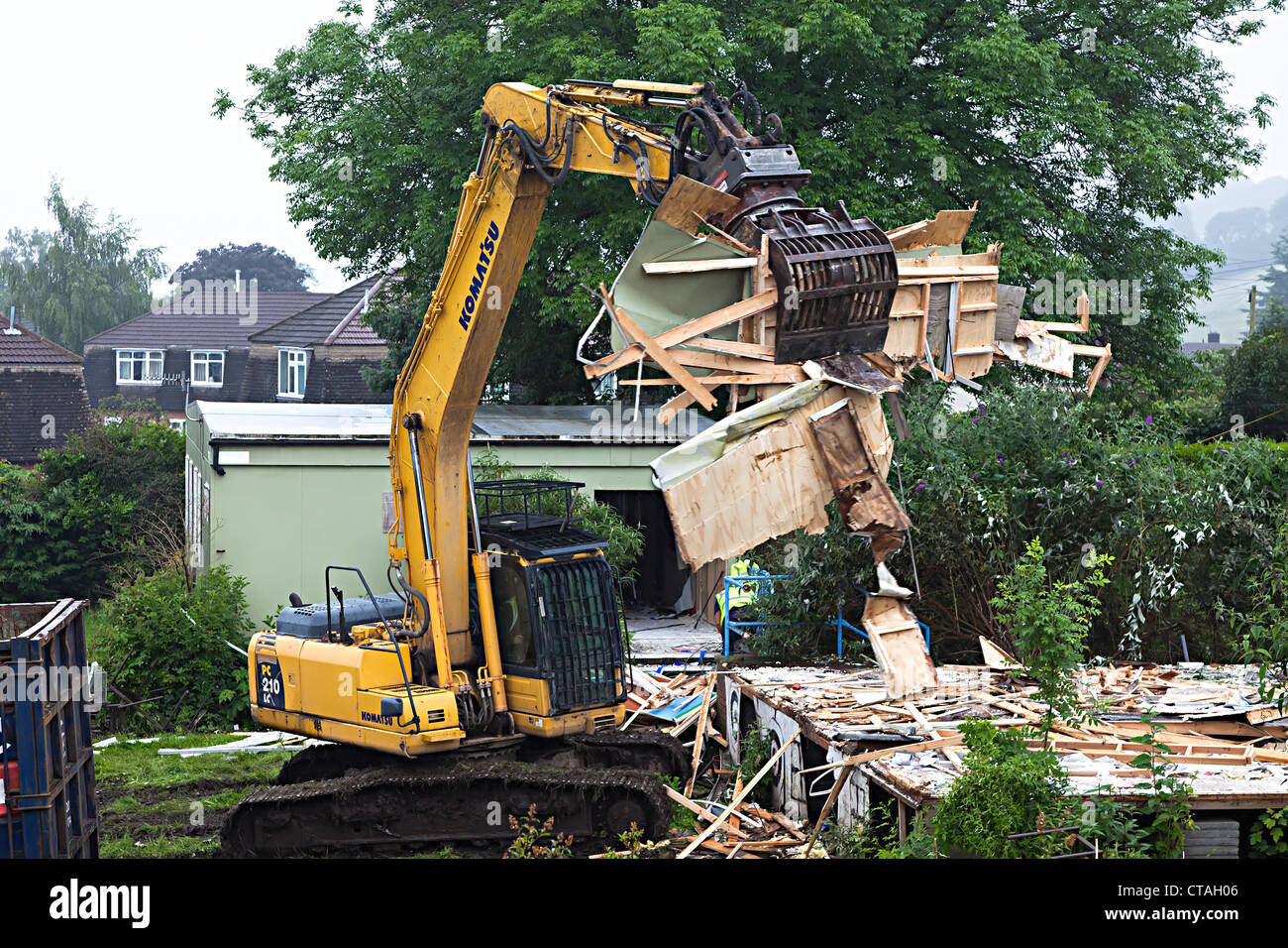 Demolition of old school buildings, Llanfoist village school, Monmouthshire, Wales, UK - Stock Image