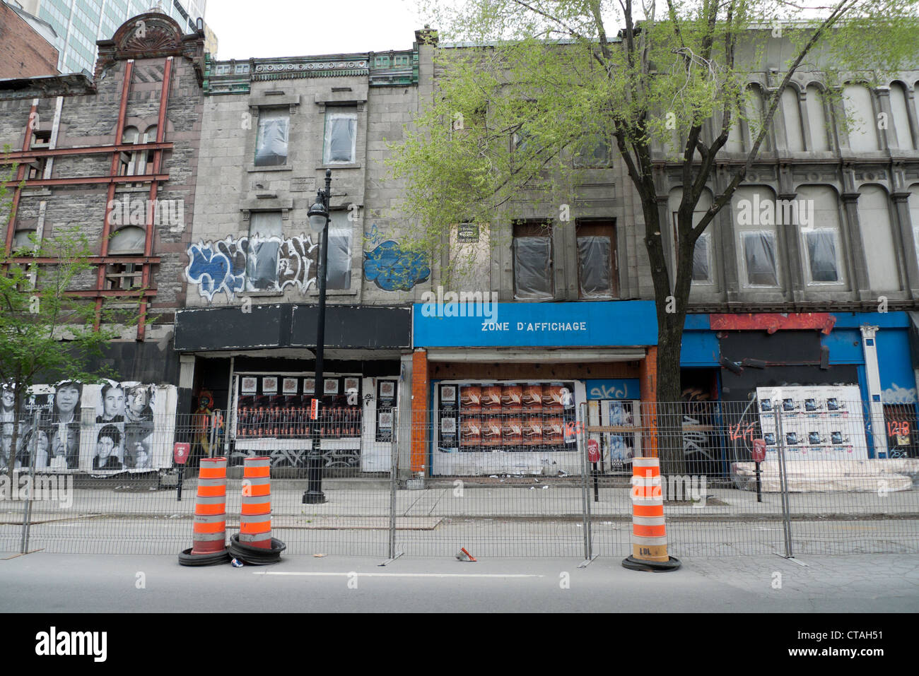 Road works and closed stores in a revitalization area on Boulevard Saint-Laurent Montreal Quebec Canada KATHY DEWITT - Stock Image