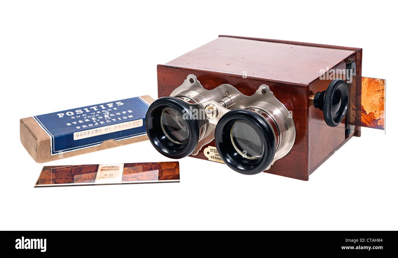 Antique glass stereo Verascope viewer with glass slides UK - Stock Image