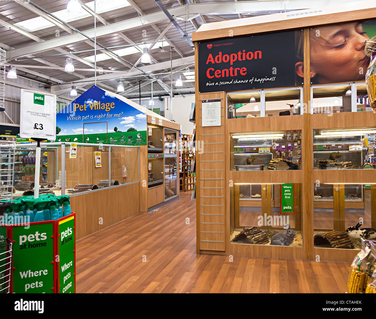 Pet supplies store with adoption centre for rehoming animals, UK - Stock Image