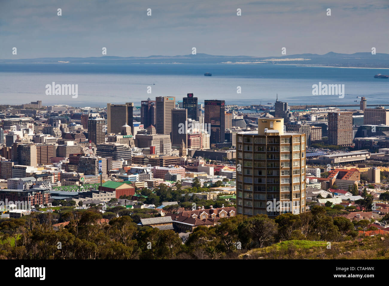 View from the foot of Devils Peak on a residential tower of Disa Park and Cape Town, RSA, Cape Town, Western Cape, - Stock Image