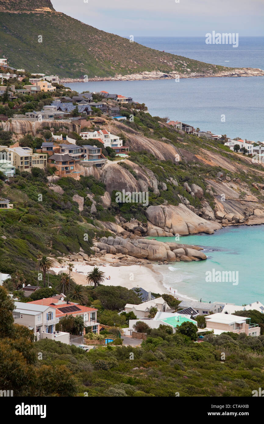 Beach houses in Llandudno Bay and Cape Town, RSA, Cape Town, Western Cape, South Africa - Stock Image