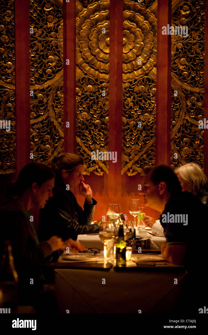 Restaurant impression with guests, restaurant Kitima, Hout Bay, Western Cape, South Africa, RSA, Africa - Stock Image
