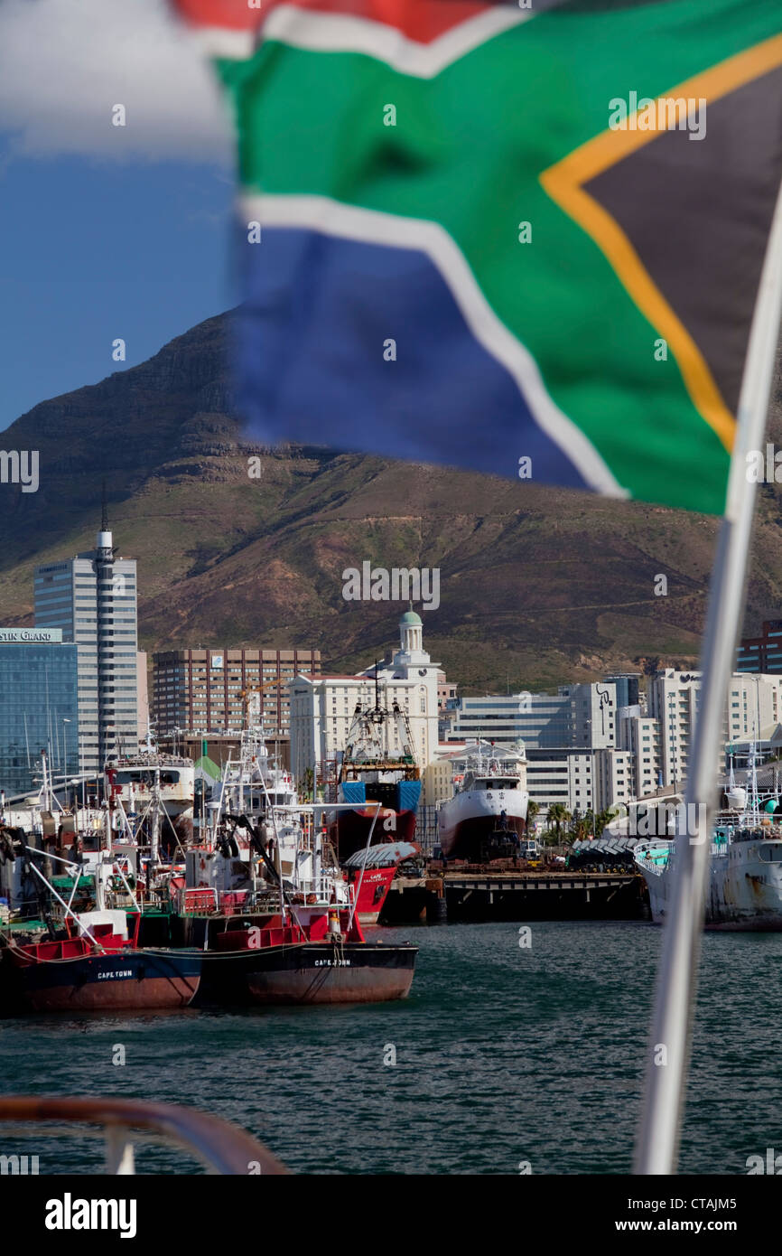 View from Victoria &amp, amp, amp, Albert Waterfront onto the habour in Cape Town, Cape Town, Western Cape, South Stock Photo