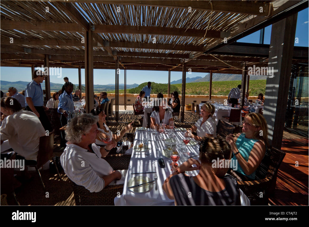 Terrace of Restaurant Guardian Peak, Stellenbosch, Kapstadt, Western Cape, South Africa - Stock Image